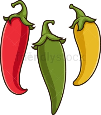 Three chili peppers. PNG - JPG and vector EPS file formats (infinitely scalable). Image isolated on transparent background.