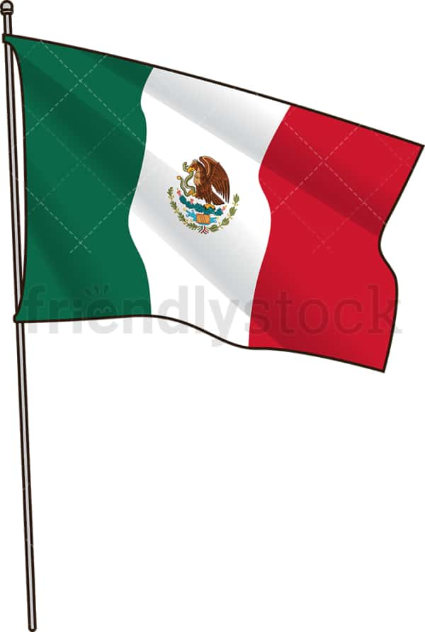 Mexican flag. PNG - JPG and vector EPS file formats (infinitely scalable). Image isolated on transparent background.