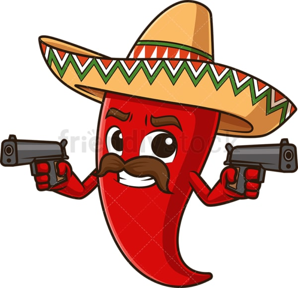 Mexican red pepper holding guns. PNG - JPG and vector EPS file formats (infinitely scalable). Image isolated on transparent background.