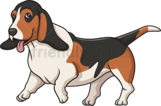 Basset hound running. PNG - JPG and vector EPS (infinitely scalable).