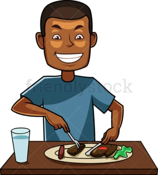 Black guy enjoying a tasty dish. PNG - JPG and vector EPS file formats (infinitely scalable). Image isolated on transparent background.