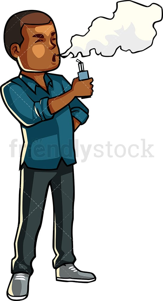 Black guy smoking electronic cigarette. PNG - JPG and vector EPS file formats (infinitely scalable). Image isolated on transparent background.