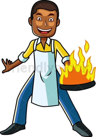 Black male holding frying pan with fire. PNG - JPG and vector EPS file formats (infinitely scalable). Image isolated on transparent background.