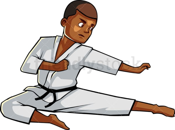 Black man executing flying kick. PNG - JPG and vector EPS file formats (infinitely scalable). Image isolated on transparent background.