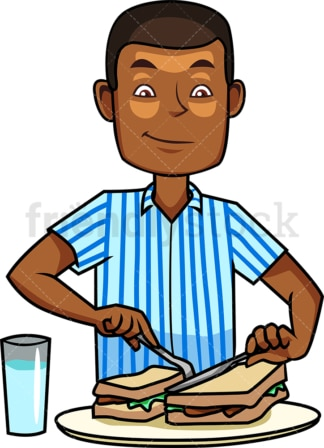 Black man making breakfast. PNG - JPG and vector EPS file formats (infinitely scalable). Image isolated on transparent background.