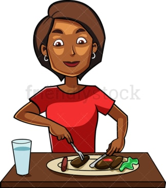 Black woman enjoying tasty dish. PNG - JPG and vector EPS file formats (infinitely scalable). Image isolated on transparent background.