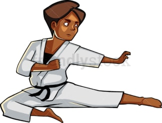 Black woman executing flying kick. PNG - JPG and vector EPS file formats (infinitely scalable). Image isolated on transparent background.