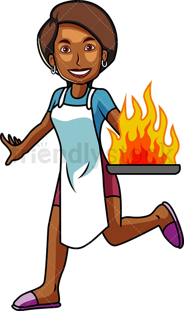 Black woman holding burning frying pan. PNG - JPG and vector EPS file formats (infinitely scalable). Image isolated on transparent background.