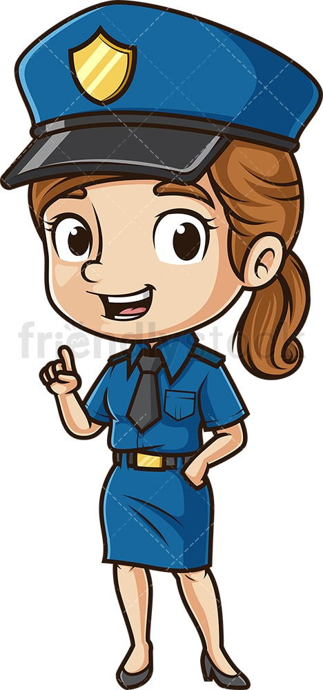 Cartoon policewoman talking. PNG - JPG and vector EPS (infinitely scalable).