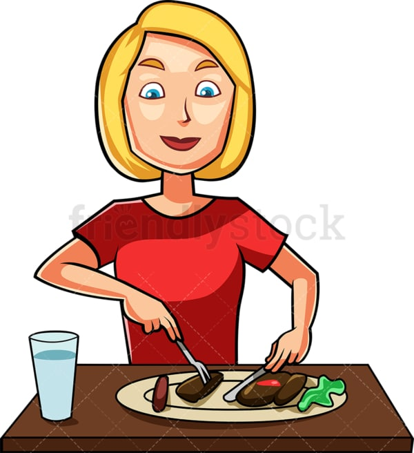 Caucasian woman enjoying tasty dish. PNG - JPG and vector EPS file formats (infinitely scalable). Image isolated on transparent background.