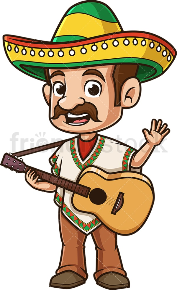 Happy mexican man waving. PNG - JPG and vector EPS (infinitely scalable).