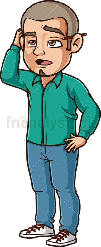 Latino man thinking. PNG - JPG and vector EPS (infinitely scalable).