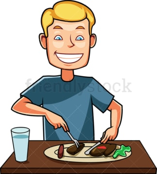 Man enjoying a tasty dish. PNG - JPG and vector EPS file formats (infinitely scalable). Image isolated on transparent background.