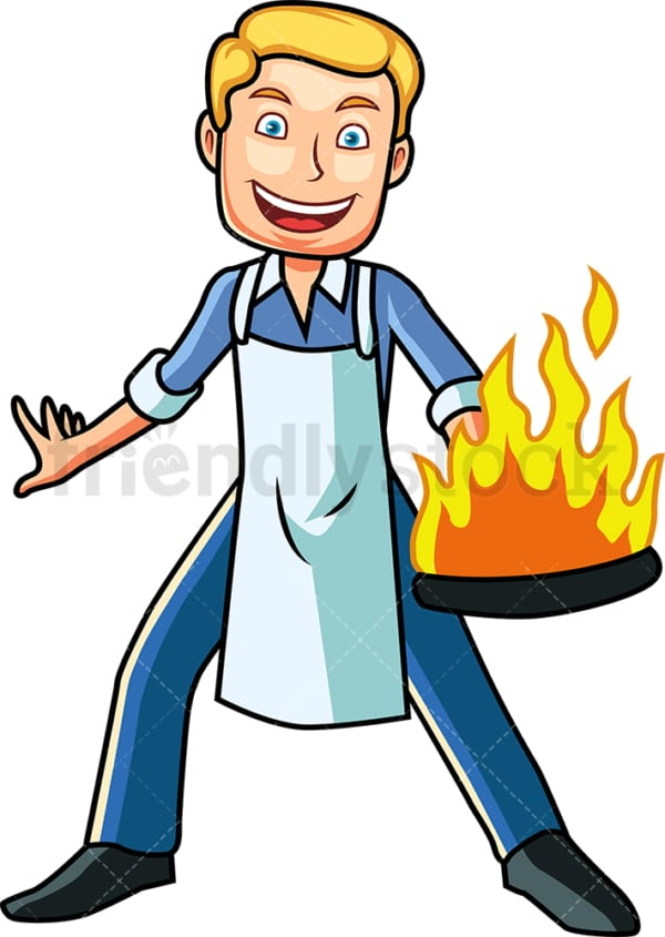 Man holding frying pan in flames. PNG - JPG and vector EPS file formats (infinitely scalable). Image isolated on transparent background.