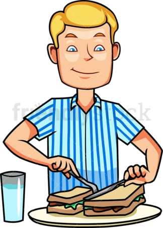 Man in pajamas eating breakfast. PNG - JPG and vector EPS file formats (infinitely scalable). Image isolated on transparent background.