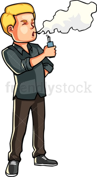 Man using an electronic cigarette. PNG - JPG and vector EPS file formats (infinitely scalable). Image isolated on transparent background.