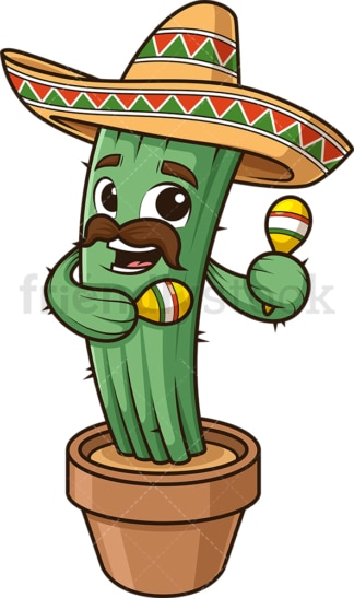 Mexican cactus shaking maracas. PNG - JPG and vector EPS (infinitely scalable).
