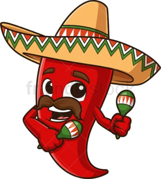 Mexican red pepper shaking maracas. PNG - JPG and vector EPS file formats (infinitely scalable). Image isolated on transparent background.