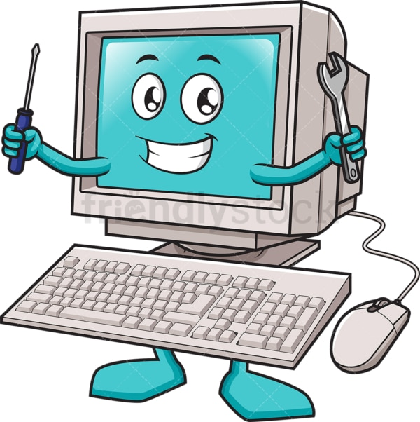 PC mascot holding repair tools. PNG - JPG and vector EPS (infinitely scalable).