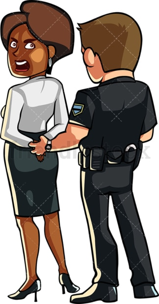 Police officer handcuffing black woman. PNG - JPG and vector EPS file formats (infinitely scalable). Image isolated on transparent background.