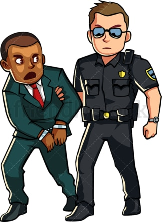 Policeman arresting black person. PNG - JPG and vector EPS file formats (infinitely scalable). Image isolated on transparent background.