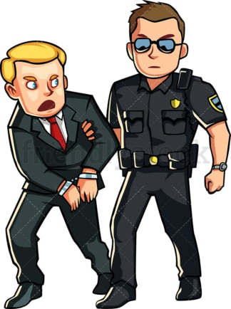 Policeman arresting business man. PNG - JPG and vector EPS file formats (infinitely scalable). Image isolated on transparent background.