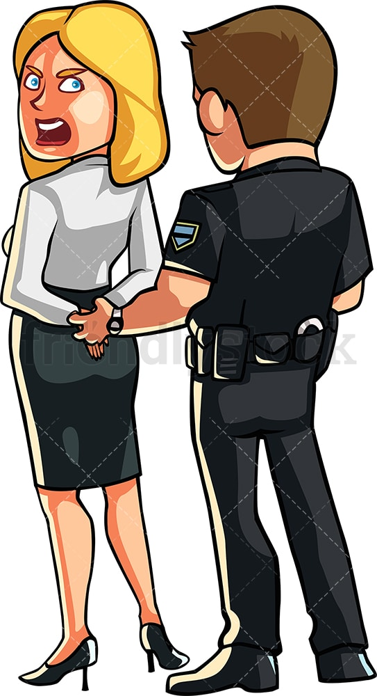 Policeman handcuffing protesting woman. PNG - JPG and vector EPS file formats (infinitely scalable). Image isolated on transparent background.