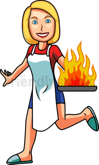 Woman holding frying pan on fire. PNG - JPG and vector EPS file formats (infinitely scalable). Image isolated on transparent background.