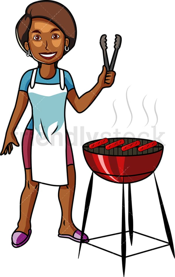African-American woman grilling hot dogs. PNG - JPG and vector EPS file formats (infinitely scalable). Image isolated on transparent background.