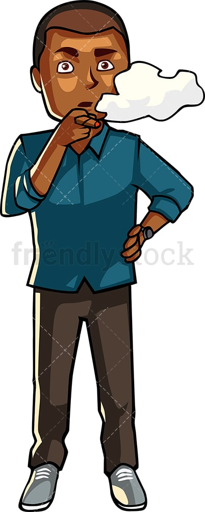 Black guy enjoying a cigar. PNG - JPG and vector EPS file formats (infinitely scalable). Image isolated on transparent background.