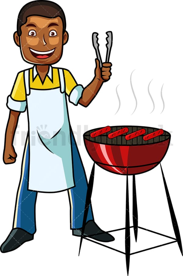 Black guy grilling some hot dogs. PNG - JPG and vector EPS file formats (infinitely scalable). Image isolated on transparent background.