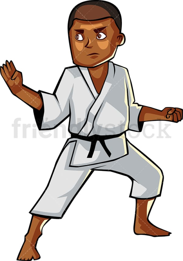 Black guy holding karate pose. PNG - JPG and vector EPS file formats (infinitely scalable). Image isolated on transparent background.