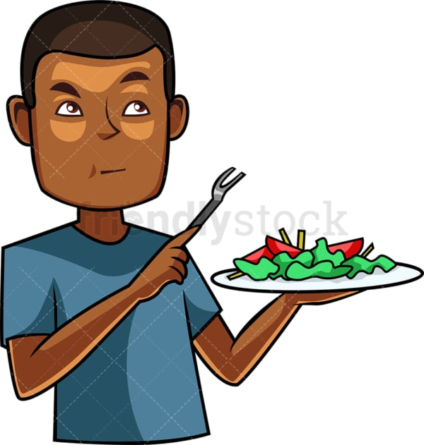 Black man tasting a salad. PNG - JPG and vector EPS file formats (infinitely scalable). Image isolated on transparent background.