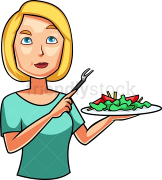 Blonde woman eating salad. PNG - JPG and vector EPS file formats (infinitely scalable). Image isolated on transparent background.