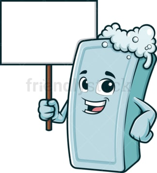 Cartoon soap holding blank sign. PNG - JPG and vector EPS (infinitely scalable).