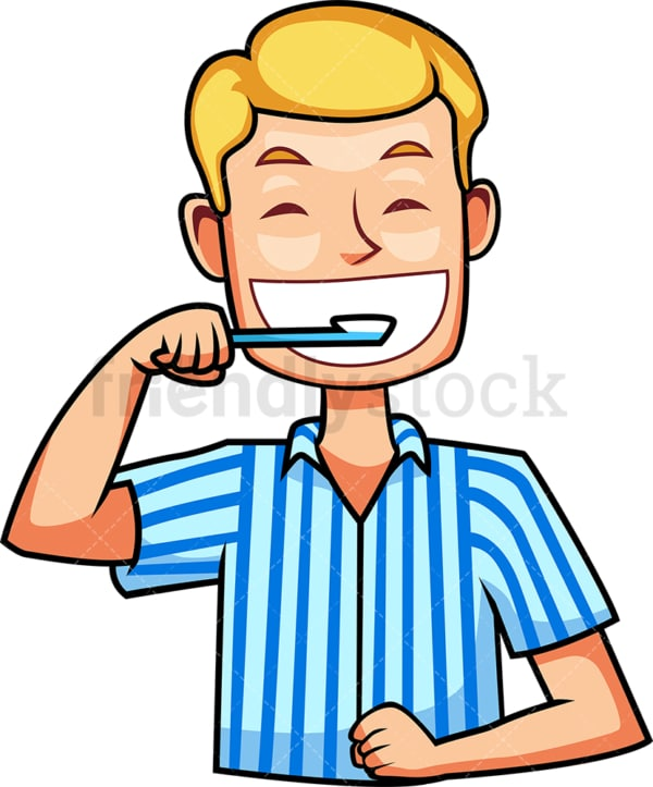Caucasian man brushing teeth. PNG - JPG and vector EPS file formats (infinitely scalable). Image isolated on transparent background.