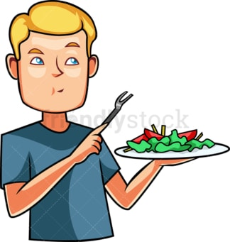 Caucasian man eating a salad. PNG - JPG and vector EPS file formats (infinitely scalable). Image isolated on transparent background.