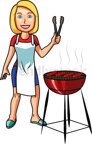 Caucasian woman grilling hot dogs. PNG - JPG and vector EPS file formats (infinitely scalable). Image isolated on transparent background.