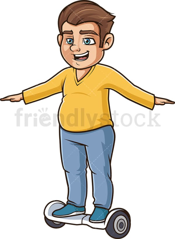 Chubby man balancing on hoverboard. PNG - JPG and vector EPS (infinitely scalable).