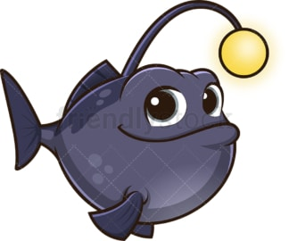 Cute anglerfish with light. PNG - JPG and vector EPS (infinitely scalable).