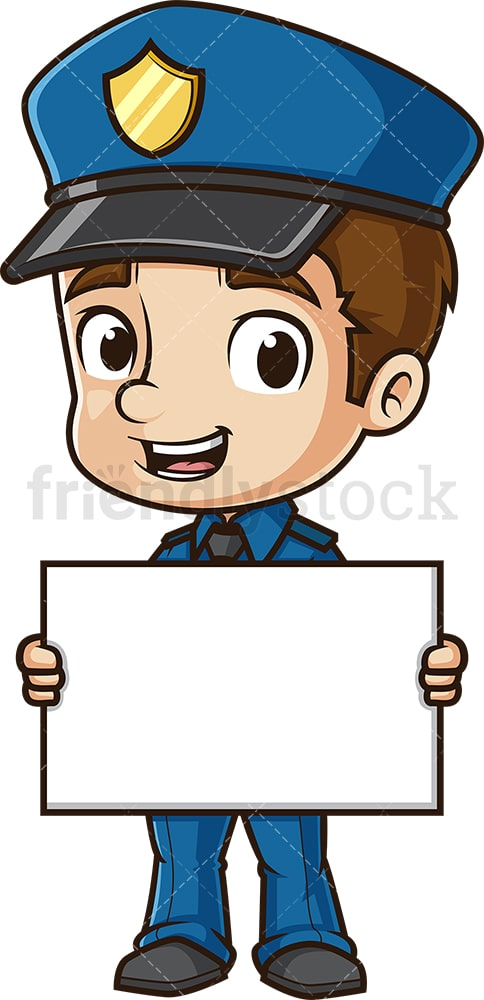 Cute policeman holding blank sign. PNG - JPG and vector EPS (infinitely scalable).