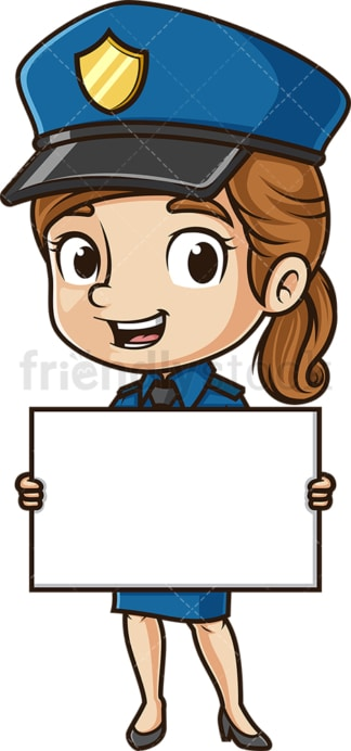 Cute policewoman holding blank sign. PNG - JPG and vector EPS (infinitely scalable).
