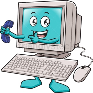 Desktop pc holding phone. PNG - JPG and vector EPS (infinitely scalable).