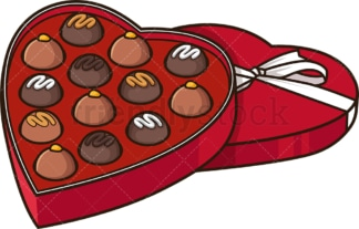 Heart-Shaped chocolate box. PNG - JPG and vector EPS file formats (infinitely scalable). Image isolated on transparent background.