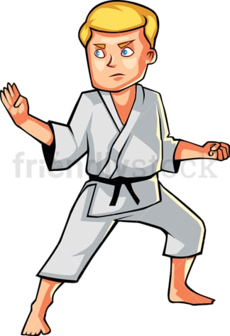 Man holding classic karate pose. PNG - JPG and vector EPS file formats (infinitely scalable). Image isolated on transparent background.