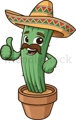 Mexican cactus thumbs up. PNG - JPG and vector EPS (infinitely scalable).