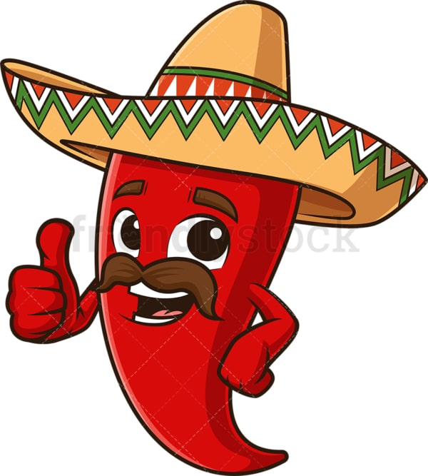 Mexican red chili pepper thumbs up. PNG - JPG and vector EPS file formats (infinitely scalable). Image isolated on transparent background.