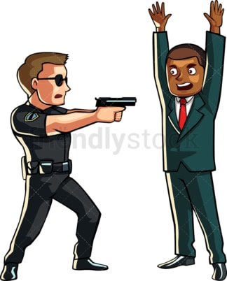 Policeman pointing a gun at suspect. PNG - JPG and vector EPS file formats (infinitely scalable). Image isolated on transparent background.