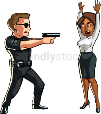 Policeman pointing gun at black woman. PNG - JPG and vector EPS file formats (infinitely scalable). Image isolated on transparent background.