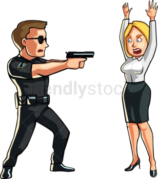 Policeman pointing gun at woman. PNG - JPG and vector EPS file formats (infinitely scalable). Image isolated on transparent background.